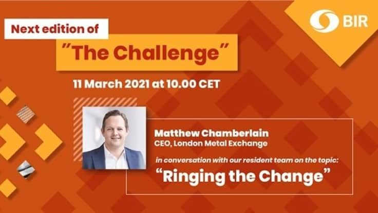 BIR's 'The Challenge' to feature LME's Matthew Chamberlain