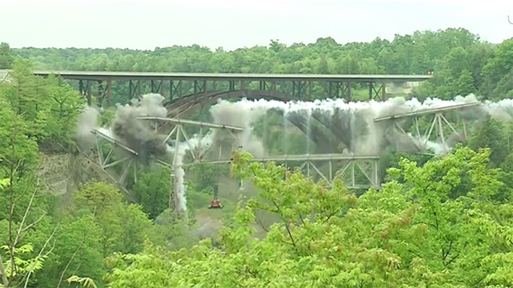 Bridge implosion makes way for new construction