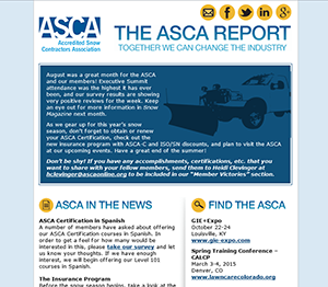 ASCA Report available to Snow readers