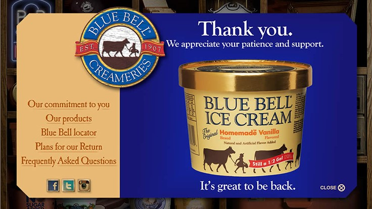Blue Bell Ice Cream Returns to Store Shelves in Select Cities