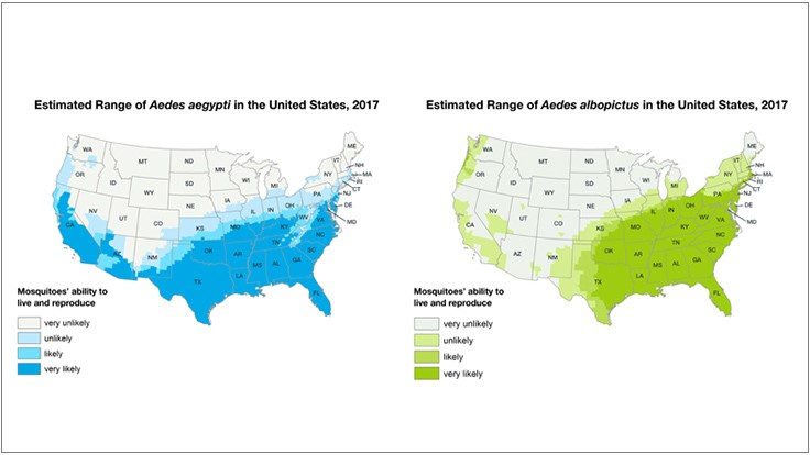 Mosquito Population By State Map CDC Updates Map Showing Estimated U.S. Range for Pair of