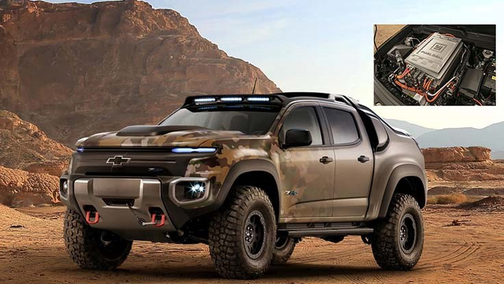 Chevy, Army officials show off fuel-cell Colorado pickup