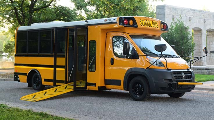 Collins low-floor school bus can transport special needs, other students in same vehicle