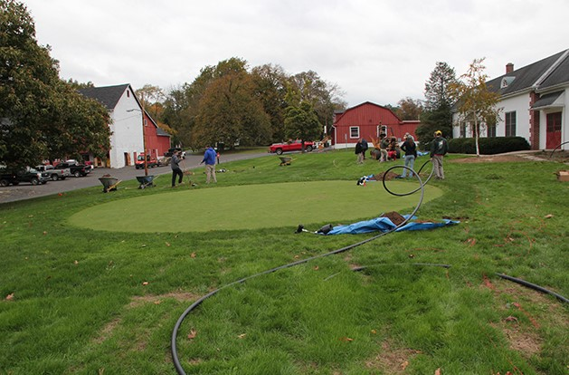 Delaware Valley students install irrigation on campus putting green
