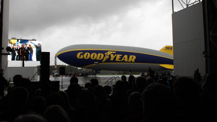 Savannah James christens newest Goodyear blimp 'Wingfoot Two'